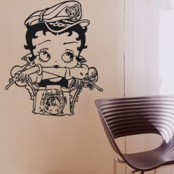 Adesivo wall stickers comic fumetto - Betty Boop moto - 0027