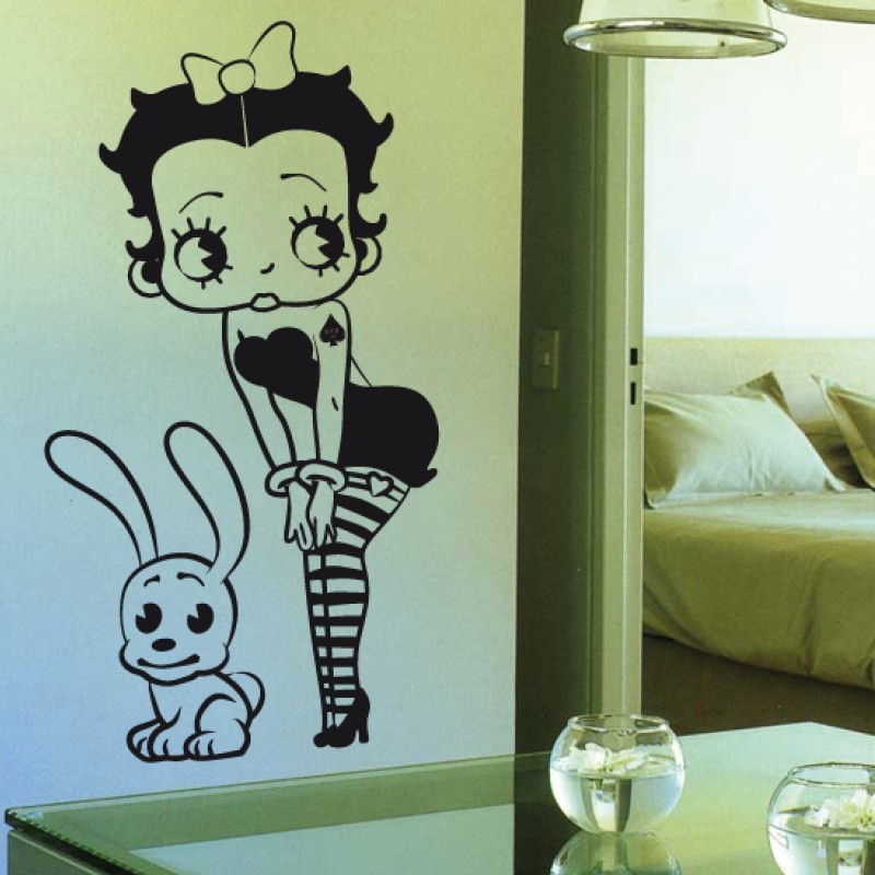 Adesivo wall stickers comic fumetto - Betty Bop con cagnolino - 0133